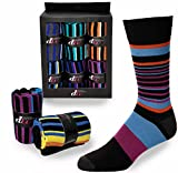 Debra Weitzner Mens Dress Socks Cotton Colorful Argyle Socks Patterned 6 Pairs With Gift Box Multistripes Size 13-15
