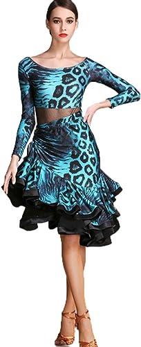Robes de Danse Latine Manches Longues Léopard Costume de Perforhommece Imprimé de Mode Collant Cha cha Samba Costume De Danse De Tango 2 PCS