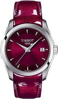 ساعة تيسوت كوترير للنساء هيكل من الستانلس ستيل كوارتز سويسرية بسوار من الجلد، عنابي، 18 موديل T0352101637101