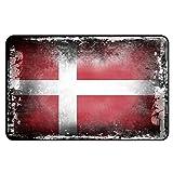 Cadora Magnetschild Kühlschrankmagnet Flagge Dänemark shabby chic abverwendet alt gebraucht