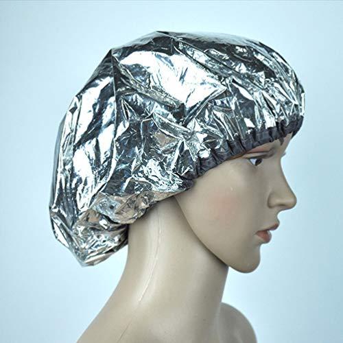 Lurrose 6 Piezas Gorro de Tratamiento Térmico Gorro de Baño Papel de Aluminio Gorro de Pelo Sombrero de Noche Cubierta de Cabeza para Vaporizar Peinado Y Tratamiento (Plateado)