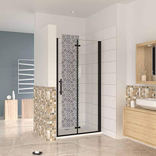 Mampara ducha frontal baño dos puerta plegable con perfil negro,estilo industrial, 5...