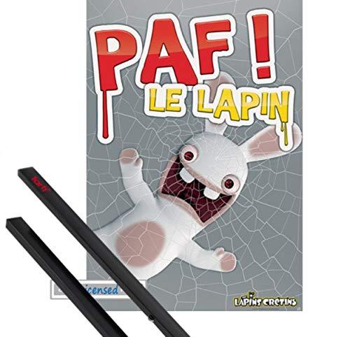 1art1 Raving Rabbids Póster (98x68 cm) Paf! Le Lapin Y 1 Lote De 2 Varillas Negras
