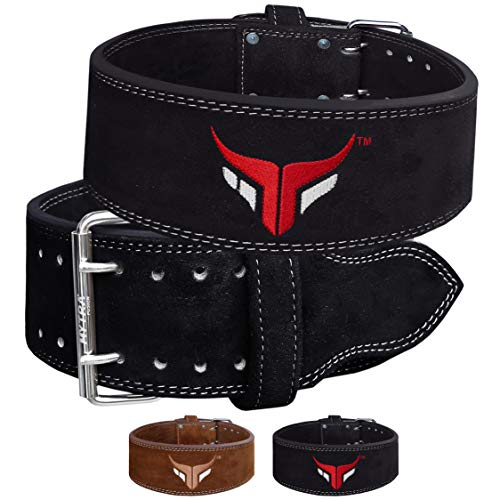 Mytra Fusion Power Weight Lifting Belt L4 Weight Training Leather Belt Power Belts for Squats Workout (Black, X-Large)