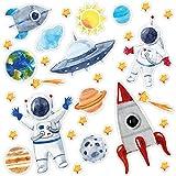 Aufkleber Set mit 31 Weltall Aufkleber I DIN A4 Bogen I Sonne Mond und Sterne I mit Rakete - Astronauten und Planeten I für Handy Kinder-Geburtstag Kinder-Zimmer Schultüte Scrapbooking I kfz_667