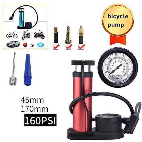 WJH9 Mini Pompa Portatile della Bici della Bicicletta, Pompa a Pedale casa piegante della Montagna Pompa per Bicicletta, Presta e Schrader Generale, per la Strada, BMX,Rosso
