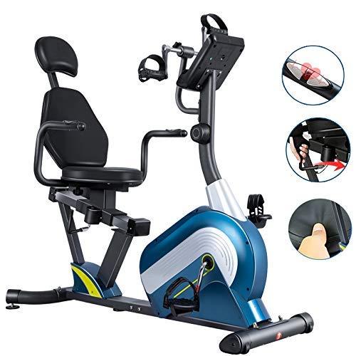 WGFGXQ Bicicleta estática reclinada, con Monitor de frecuencia cardíaca Profesional, Asiento y reposabrazos Ajustables, Resistencia magnética, Entrenador de Brazos y piernas para rehabili