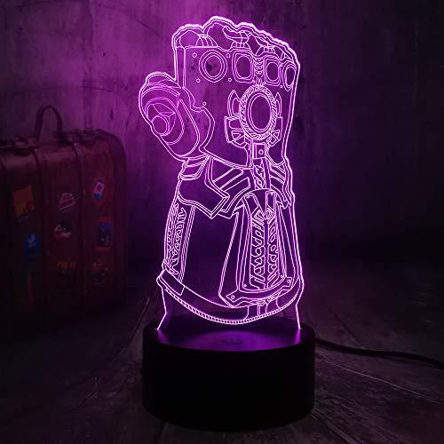 The Avengers Marvel Comics Super Infinity Gauntlet VillainThanos 3D Optical Illusion Night Light Mood 3D Table Lamp Bedroom Decor Kids Toys New Year Christmas Gift Baby Sleep Lamp(Infinity Gauntlet)