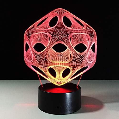 KangYD 3D Night Light Creative Abstract, LED Optical Illusion Lamp, B - Remote Black Base(16 Color), Gift for Girl, Desk Lamp, Bar Decor, Birthday Gift, Decor Lights