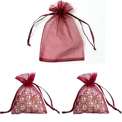 WSERE 100 Pieces Organza Gift Bags Drawstring Packing Bag Wedding Birthday Party Favors Jewelry Mesh Pouches 18 Colors, 3.6×2.8 inches(Burgundy)