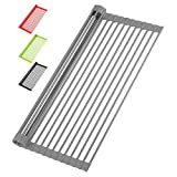 """Zulay Kitchen Large 20.5"""" Roll Up Dish Drying Rack - Heavy Duty Silicone Wrapped Steel Rods Over Sink Dish Drying Rack - Versatile Roll Up Sink Drying Rack & Trivet - Gray"""