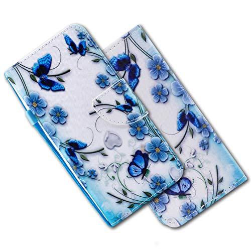 MRSTER Cover per Honor Play, Moda Bello Custodia a Libro in Pelle PU Flip Portafoglio Custodia Shockproof Resistente Case per Huawei Honor Play. HX Blue Butterfly