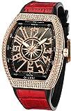 Mens Skull Big Face Watches Rectangle Punk Diamond Dial Leather Strap Calendar Quartz Sports Wrist Watch (Rose Red)