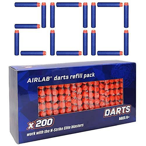 Airlab 200er Darts Pfeile für Nerf Zubehör, Darts für N-Strike Elite Series, 7,2 cm Refill Darts Foam Pfeile, Blau