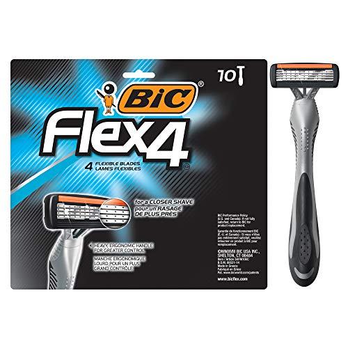 BIC Flex 4 Men's 4-Blade Disposable Razor, 10 Count