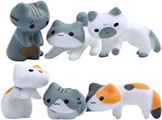 WINOMO 6 stycken mini söta katter miniatyr trädgård mikro landskap hus suckulenter bonsai blomkrukor Craft Decor