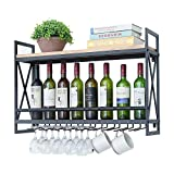 Industrial Wine Racks Wall Mounted with 8 Stem Glass Holder,31.5in Rustic Metal Hanging Wine Holder Wine Accessories,2-Tiers Wall Mount Bottle Holder Glass Rack,Wood Shelves Wall Shelf