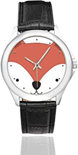 InterestPrint Cute Panda Cat Fox Pig Tiger Waterproof Women's Stainless Steel Classic Leather Strap Watches, Black