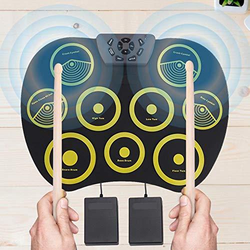 Junluck Kit de Almohadilla de batería electrónica, Almohadilla de batería Plegable compacta...