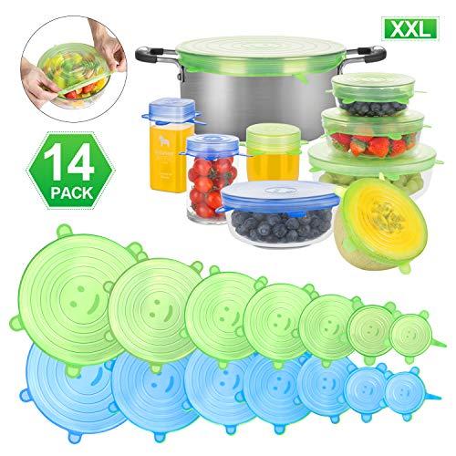CISHANJIA Silikondeckel Dehnbar, 14er Dehnbare Silikondeckel BPA-frei Wiederverwendbar für Verschiedene Größen und Formen von Behältern, Sicher in Spülmaschine, Mikrowelle, Gefrierschrank