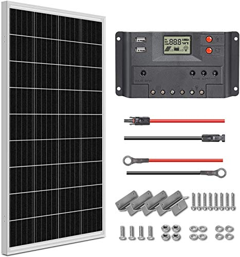 WEIZE 100 Watt 12 Volt Monocrystalline Solar Panel Kit, with Charger Controller, 20ft MC4 Cable, 8ft Tray Cable, Brackets