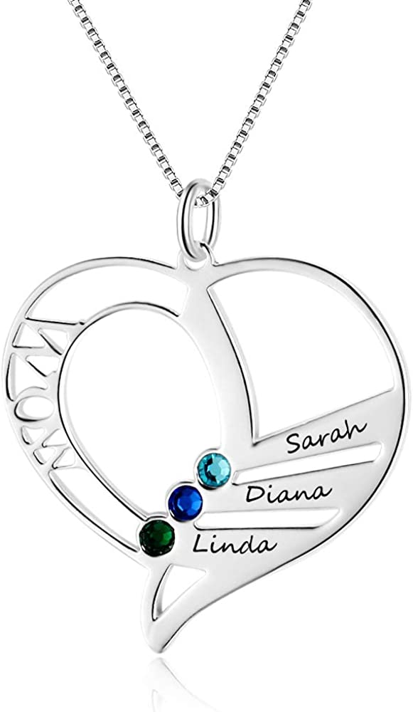Personalized Mothers Name Heart Necklace with 3 Simulated Birthstones Jewelry for Women Mother's Necklace with 3 Children Names
