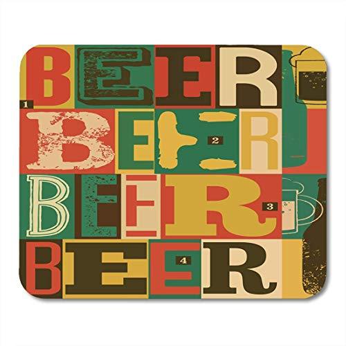 Mauspad bunte alte typografische vintage bier retro alkohol trinken abstrakte mousepad für notebooks, Desktop-computer mausmatten