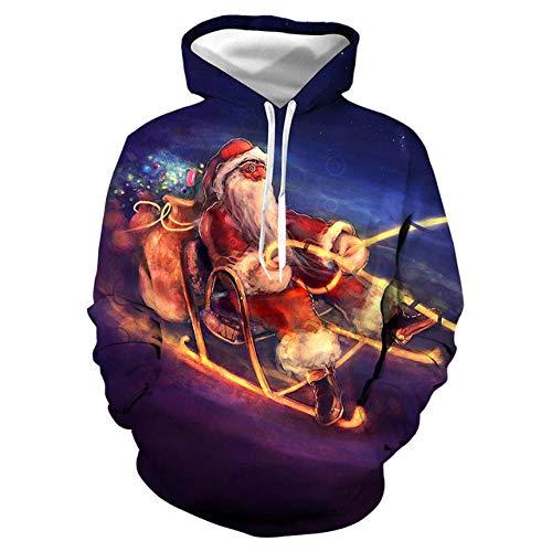Simmia home Sweat à Capuche 3D Imprimer Pull Sweatshirt,Digital Print Loose Couple Shirt, Santa Claus, M,Décontracté Pullover pour Garçon Fille Ado