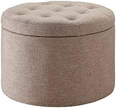 Convenience Concepts Designs4Comfort Round Shoe Ottoman, Tan Fabric