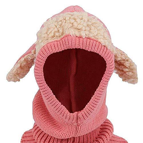 Ogquaton Sombreros de punto de bebé de invierno Sombrero de una pieza Gorro para cachorro en forma de cachorro Sombrero caliente para niña niño Rosa