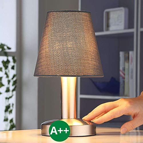 Lampenwelt Nachttischlampe 'Hanno' (Modern) mit Touch Sensor dimmbar in alu/grau - Nachtlicht, Tischlampe, Tischleuchte