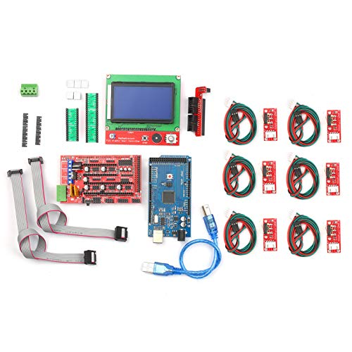 VISLONE CNC 3D Printer Controller Kit with RAMPS 1.4 Controller 2560 Control Board A4988 Stepper Motor Driver LCD 12864 Graphic Smart Display Controller