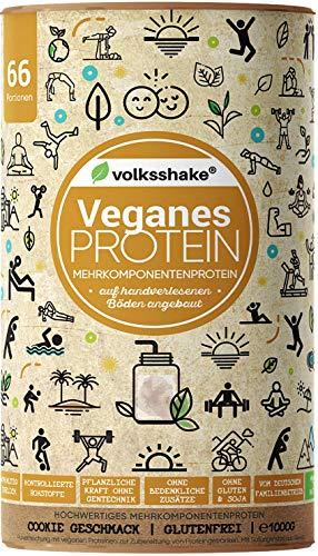 VEGANES PROTEIN Cookie | Volksshake | 1kg mit 12 veganen Proteinen | mit natürlichen Enzymen | Mandel-, Hanf-, Chia-, Quinoaprotein | nachhaltig & ganzheitlich