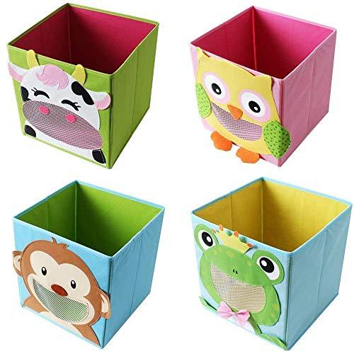 TE-Trend 4 Stück Textil Faltbox Spielbox Tiermotive Frosch AFFE Eule Kuh Aufbewahrung Truhe für Spielzeug faltbar 28 x 28 x 28 cm