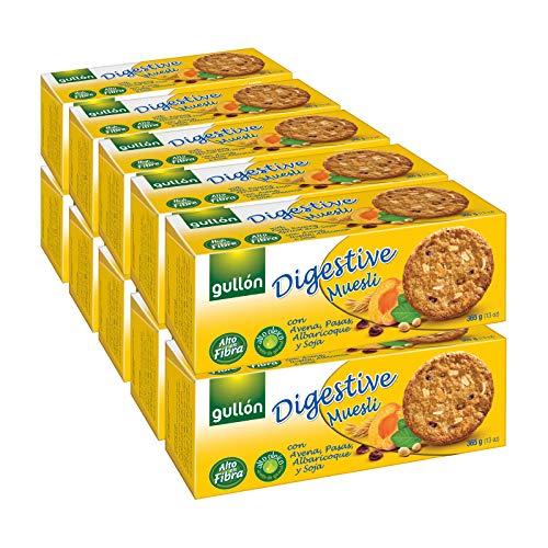 Gullón - Galletas Digestive fibra muesli avena y albaricoque, 5.500 g, Pack de 15