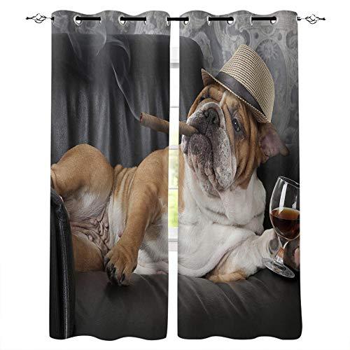 MXYHDZ Opacas Cortinas Dormitorio - Negro Animal Bulldog Moda - Impresión 3D Aislantes de Frío y Calor 90% Opacas Cortinas - 150 x 166 cm - Salon Cocina Habitacion Niño Moderna Decorativa