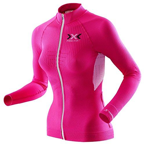 X-Bionic imperméable pour Adulte Biking Lady The Trick t-Shirt LG SL-Ow Tabouret Haut à Fermeture éclair intégrale M Multicolore - Rose/Blanc