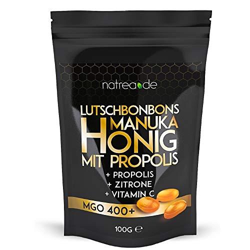 Natrea Manuka Honig Bonbons 400 MGO 🍯 mit Zitronengeschmack und Propolis | 100 g im wiederverschließbaren ZIP Beutel