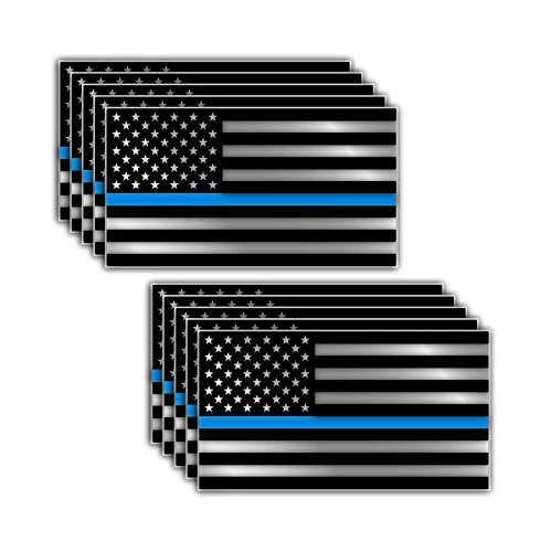10 Pack of Thin Blue Line Police Officer BLM American Flag Vinyl Decal Sticker Car Truck 3 x 5.5
