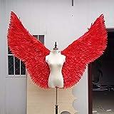 パーティーは、天使の羽の羽レッドフェザーエンジェルウィングキャットウォークショーサプライ祭ウィンドウの小道具モデルキャットウォーククリスマスパーティーサプライを好みます (Color : Red wings)