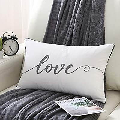 Sanmetex Indoor/Outdoor Embroidery Love Lumbar Pillow Cover, Housewarm Decorative Cushion for Sofa Bedroom Car,Great Gifts for Thanksgiving Day, Christmas,Wedding. 12 X 20 Inch ?30cm X 50cm?