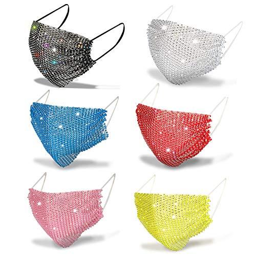 6Pack Bling Mask for Women, DORAFO Sparkly Rhinstone Mesh Face Masks for Masquerade Breathable