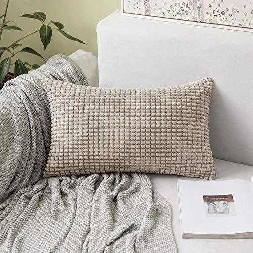 MIULEE 1 Stück Kissenbezüge Kordsamt Dekokissen Kissenbezug Sofakissen Dekorativ Couchkissen Kissenhülle Bezug Zierkissen Weich für Wohnzimmer Schlafzimmer 30x50 cm, 12x20 Inch Sandfarbe