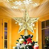 Oro Topper per Albero di Natale con Luci, Topper per Albero di Stelle con Luce per Proiettore LED Topper per Albero di Natale Illuminato con Glitter con di Tempesta di Neve ad Angolo Regolabile