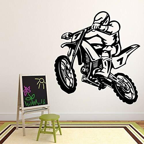 Dirt Bike Wall Decal Stunt Motocross Estilo fresco Pegatinas de ventana Adolescentes Niños Dormitorio Hombre Cueva Decoración del hogar Papel tapiz A4 42x45cm