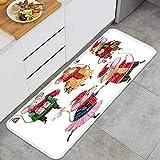 Alfombra de Cocina Antideslizante,Acuarela Set Ratones de Navidad Vestidos de Invierno,Estera de Cocina Felpudos Decorativo Alfombra para Dormitorio Baño Pasillo 45 x 120cm