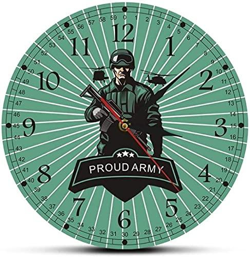 Decoración grande reloj de pared Ejército Combate soldado con rifle decorativo hombre cueva reloj de pared orgulloso ejército listo para la guerra armamento militar decoración de pared reloj de pared