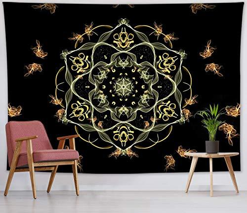 Tapiz de mandala con flor de loto con chimenea para colgar en la pared del dormitorio, tapices negros para sala de estar, dormitorio, decoración de pared, 59 x 39 pulgadas