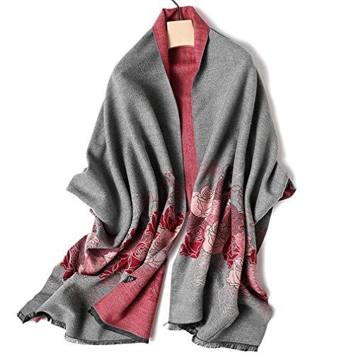 bufanda Madre Mujer otoño e Invierno cálido Anciano Regalo Abuela de Mediana Edad imitación mantón de Cachemira de Doble Uso