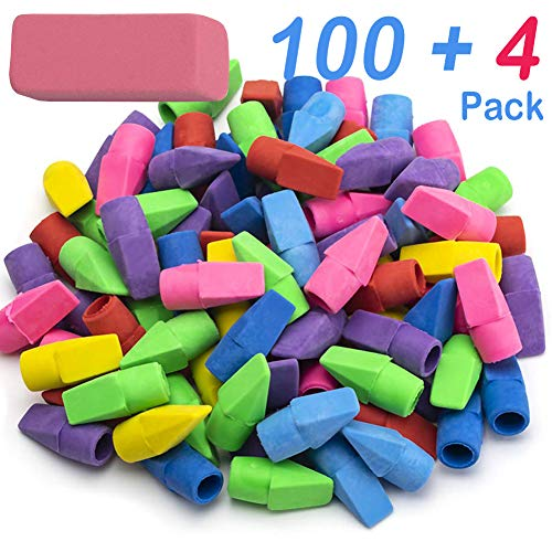 Sooez Pencil Erasers, 100 Pack Pencil Top Erasers & 4 Pack Pink Erasers, Cap Erasers Eraser Tops Pencil Eraser Toppers School Erasers for Kids School Supplies for Teachers Pencil Erasers